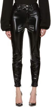 Unravel Black Latex High Waist Skinny Trousers