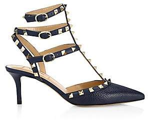 Valentino Women's Rockstud Pebbled Leather Cage Pumps