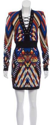Balmain Patterned Knit Lace-Up Mini Dress w/ Tags