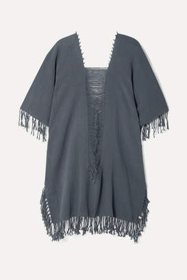 Caravana - Ak Kin Fringed Distressed Cotton-gauze Kaftan - Blue