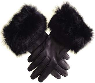 Black Ladies' Leather Gloves with Rabbit Fur Cuff