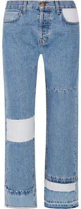 Current/Elliott - The Diy Patchwork High-rise Straight-leg Jeans - Blue $275 thestylecure.com