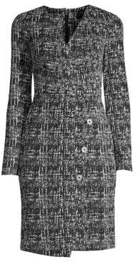 Donna Karan Women's Faux Wrap Tweed Sheath Dress - Black Cloud - Size 16