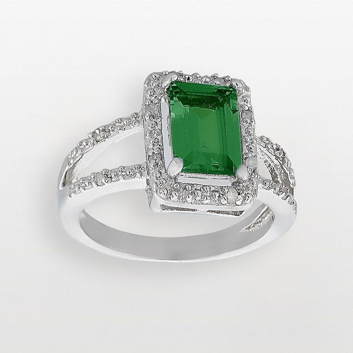 Sterling silver 1/10-ct. t.w. diamond & lab-created emerald ring