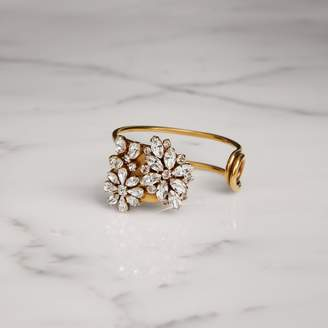 Burberry Crystal Daisy Gold-plated Cuff, White