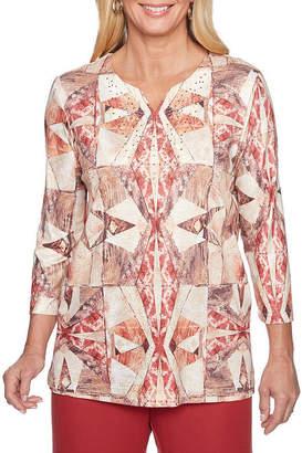 Alfred Dunner Sunset Canyon 3/4 Sleeve Split Crew Neck Geometric T-Shirt-Womens