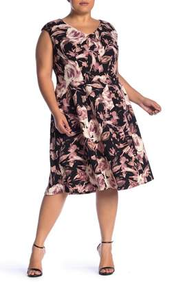 London Times Floral Print Fit & Flare Dress (Plus Size)