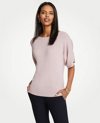 Ann Taylor Stitched Short Sleeve Sweater