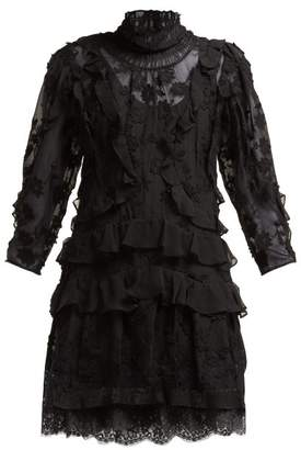 Rebecca Taylor Tiered Floral Lace Cotton Blend Mini Dress - Womens - Black