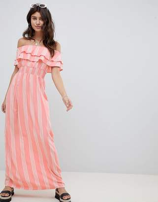 PrettyLittleThing Striped Bardot Maxi Dress