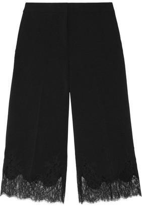 MICHAEL Michael Kors - Cropped Lace-trimmed Stretch-crepe Wide-leg Pants - Black $195 thestylecure.com