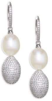 Adriana Orsini Tahiti White Pearl& Crystal Ball Drop Earrings