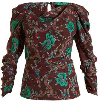 Isabel Marant Floral Print Top - Womens - Burgundy Multi