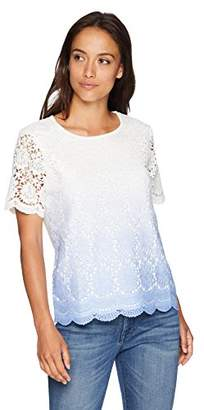 Alfred Dunner Women's Petite Ombre Lace Tee Shirt