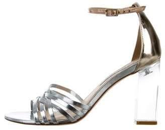 Diane von Furstenberg Metallic Ankle Strap Sandals