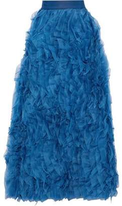 Alice + Olivia Ruffled Silk-Organza Maxi Skirt