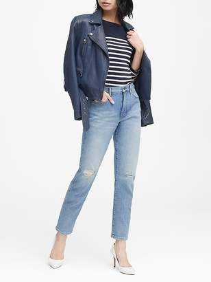 Banana Republic High-Rise Straight-Fit Ripped Ankle Jean