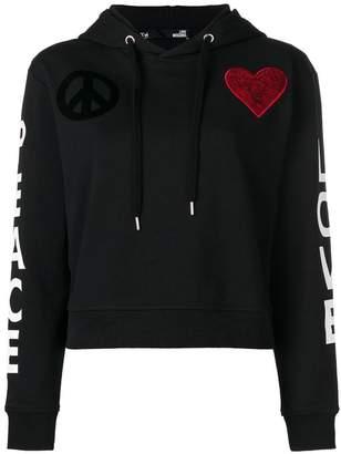 Love Moschino heart patch hoodie