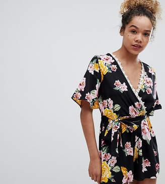 Miss Selfridge Petite Kimono Sleeve Floral Printed Playsuit