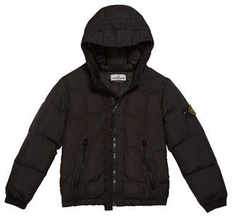 Stone Island Down Puffer Jacket with Hood, Size 14