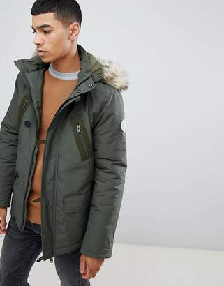 Jack Wills Newton parka jacket with faux fur hood in khaki