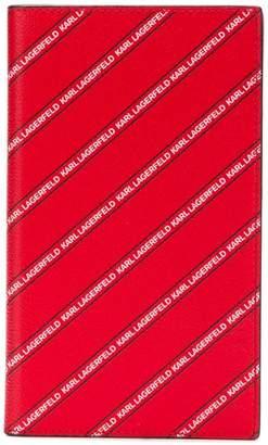 Karl Lagerfeld striped logo travel wallet