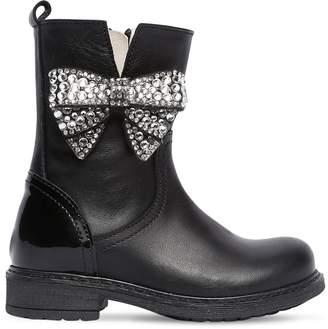 MonnaLisa Embellished Bow Leather Boots