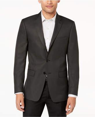 Calvin Klein Men's Slim-Fit Charcoal/Black Neat Textured Sport Coat