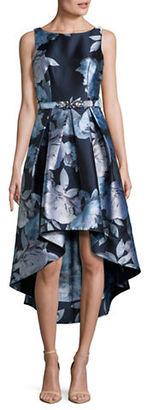 Eliza J Sleeveless Floral Jacquard Hi-Lo Dress $318 thestylecure.com