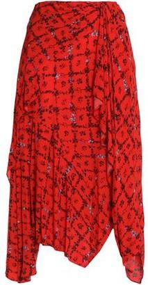 Preen Line Asymmetric Floral-print Crepe De Chine Skirt