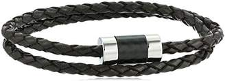 Men's Brown Leather Carbon Fiber with Steel Magnetic Clasp Bracelet