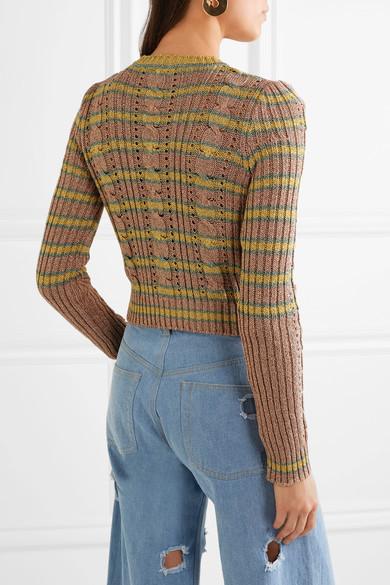 Philosophy di Lorenzo Serafini - Metallic Striped Cable-knit Sweater - Yellow 2