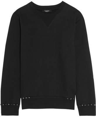 Valentino The Rockstud Cotton-jersey Sweatshirt - Black