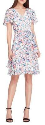Tahari Arthur S. Levine Printed Faux-Wrap Dress