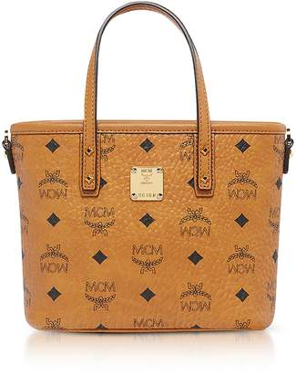 MCM Anya Cognac Top Zip Mini Tote Bag