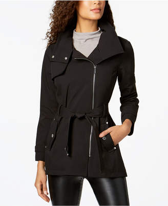 Michael Kors MICHAEL Hooded Belted Asymmetrical Softshell Coat