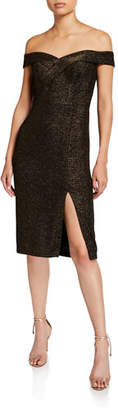 Aidan Mattox Metallic Off-the-Shoulder Cocktail Dress