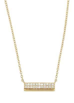Bony Levy 18K Yellow Gold Diamond Accent Bar Pendant Necklace - 0.09 ctw