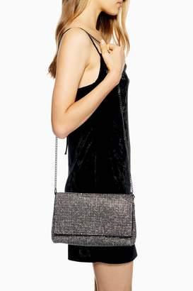 Topshop Womens Diana Diamante Clutch Bag - Silver