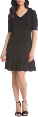 Karen Kane V-Neck Ruffle Hem Dress