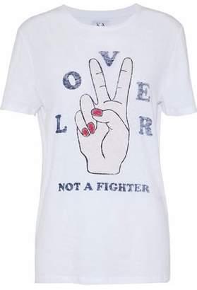 Zoe Karssen Printed Slub Cotton And Linen-Blend Jersey T-Shirt