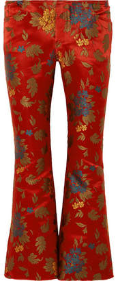 Marques Almeida Marques' Almeida - Floral Satin-jacquard Cropped Flared Pants