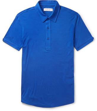 Orlebar Brown Sebastian Slim-fit Merino Wool-jersey Polo Shirt - Blue