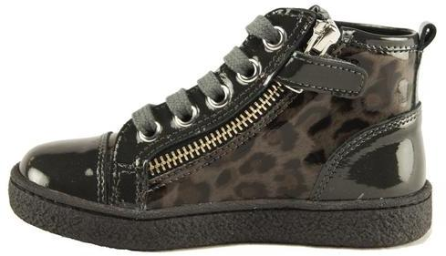 Naturino High Top Lace/Zip Sneakers in Charcoal Leopard Combo