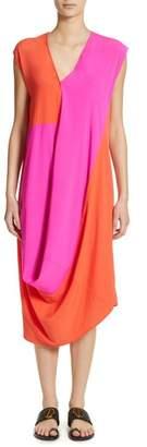 Zero Maria Cornejo Colorblock Drape Silk Blend Dress