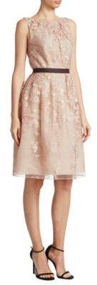 J. Mendel Floral Lace Belted A-Line Dress