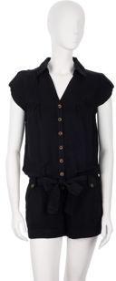 Ella Moss Button Front Romper - Black