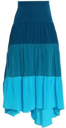 Peter Pilotto Color-Block Silk Crepe De Chine Midi Skirt