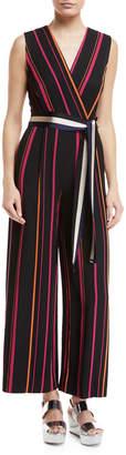 Diane von Furstenberg Sleeveless Crossover Wide-Leg Striped Jumpsuit