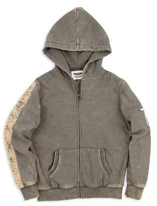 Butter Shoes Boys' Fleece Mineral-Wash Army Zip-Up Hoodie - Big Kid